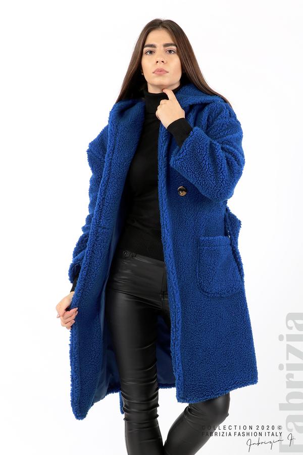 Едноцветно палто с качулка кр.син 2 fabrizia