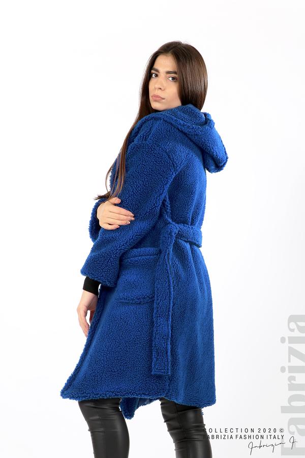Едноцветно палто с качулка кр.син 5 fabrizia