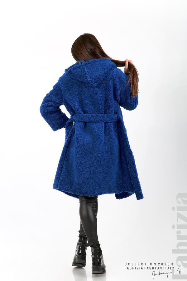 Едноцветно палто с качулка кр.син 6 fabrizia