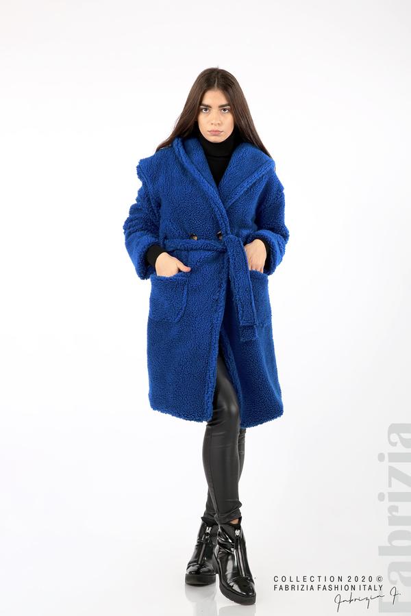 Едноцветно палто с качулка кр.син 1 fabrizia