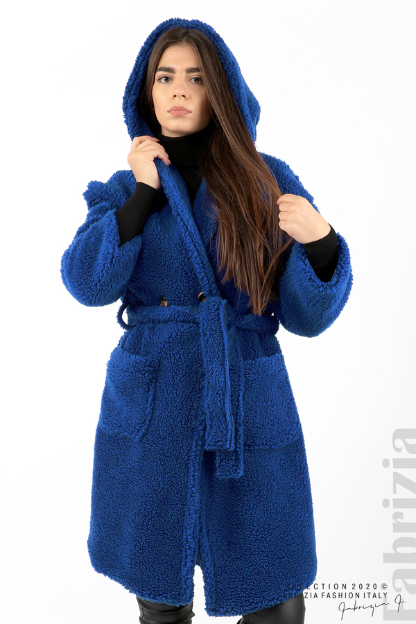 Едноцветно палто с качулка кр.син 3 fabrizia