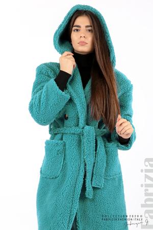 Едноцветно палто с качулка