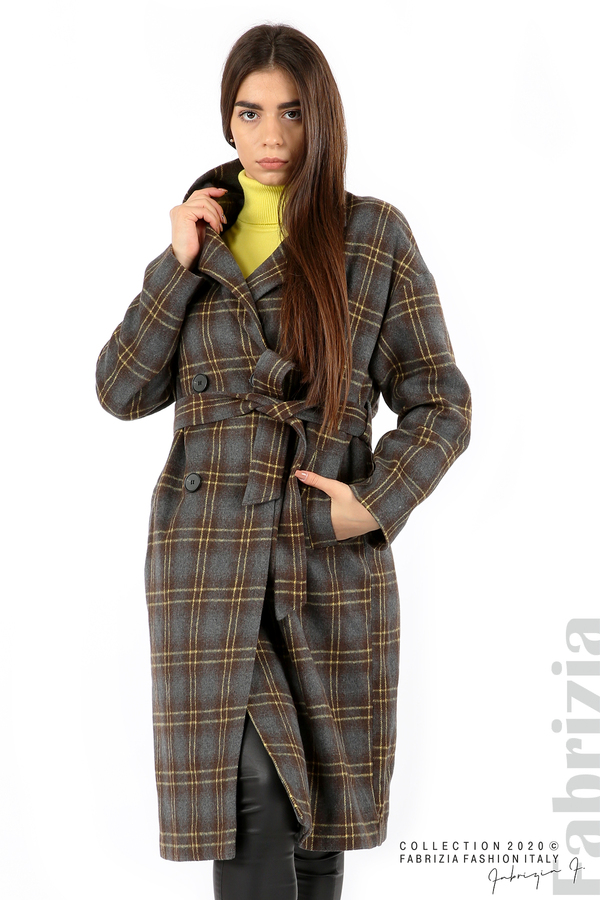 Елегантно дълго палто сив 2 fabrizia