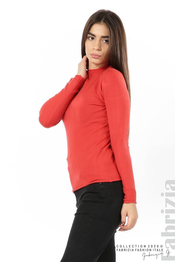 Изчистена блуза с ниска поло яка керемида 1 fabrizia