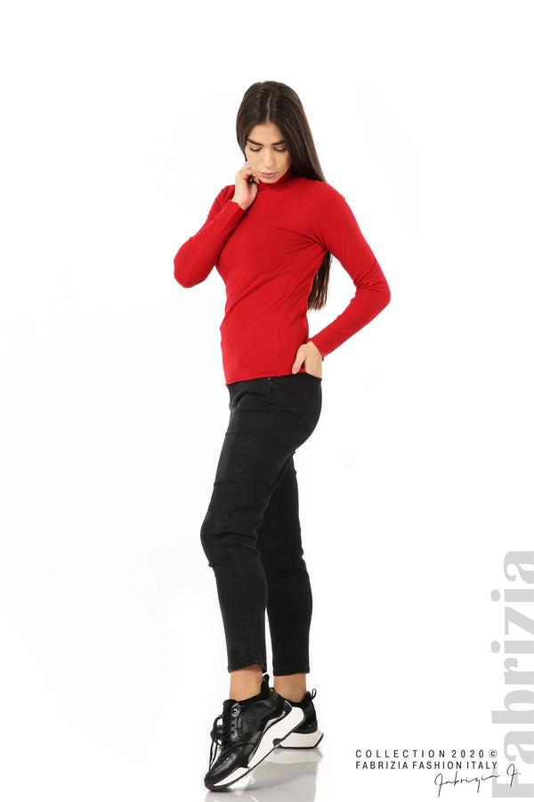 Изчистена блуза с ниска поло яка червен 1 fabrizia