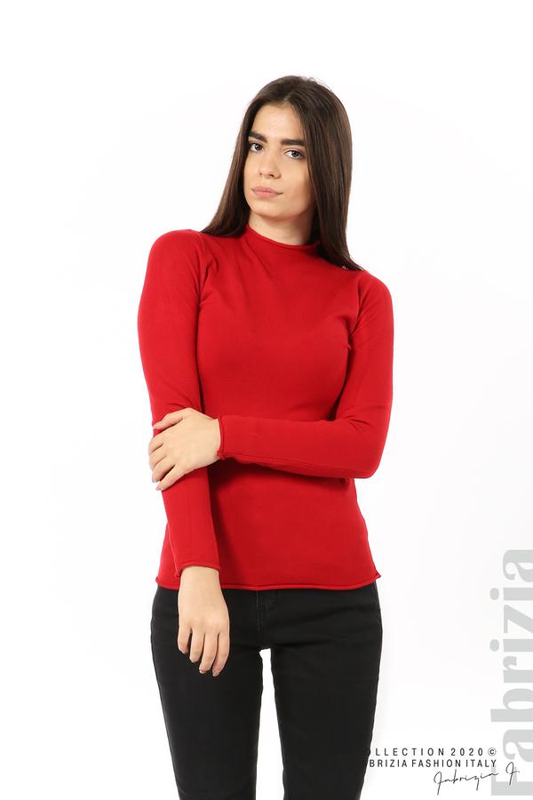 Изчистена блуза с ниска поло яка сив 2 fabrizia