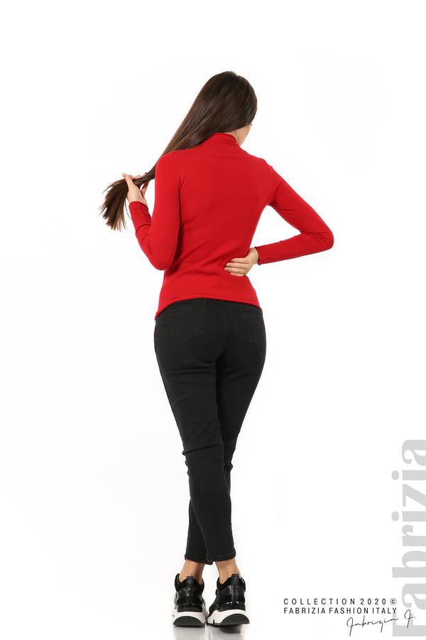 Изчистена блуза с ниска поло яка червен 5 fabrizia