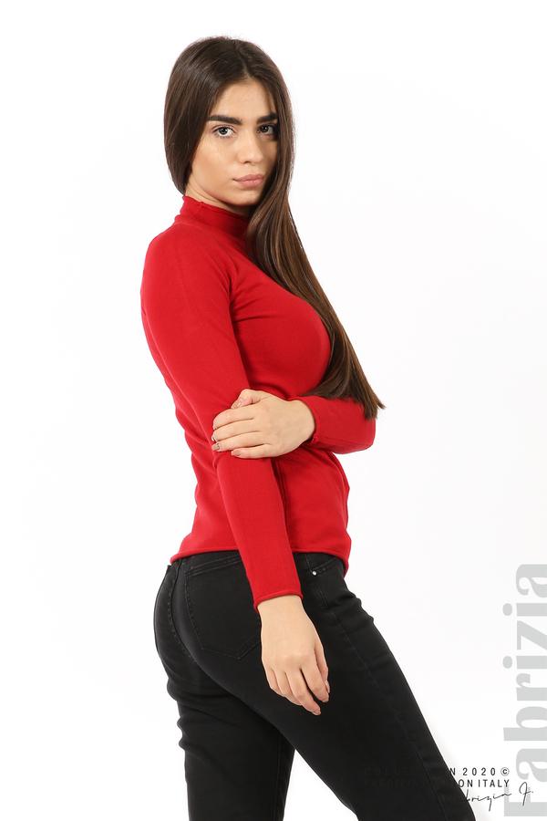Изчистена блуза с ниска поло яка червен 3 fabrizia
