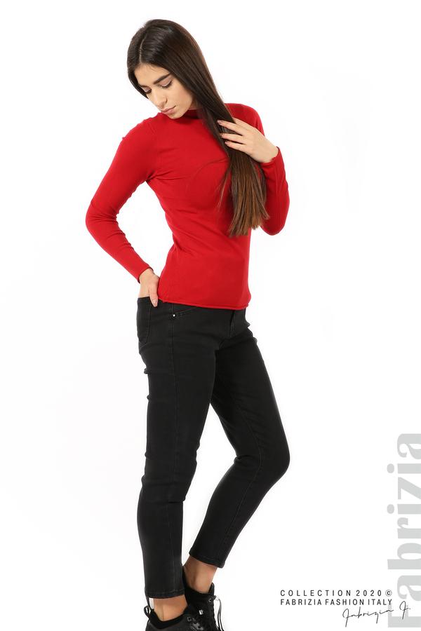 Изчистена блуза с ниска поло яка червен 4 fabrizia