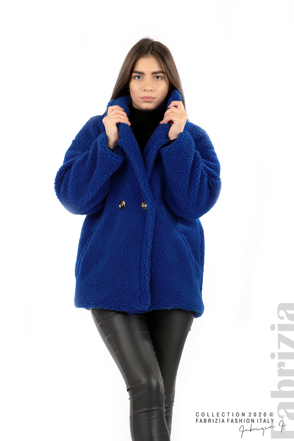 Късо едноцветно палто кр.син 1 fabrizia
