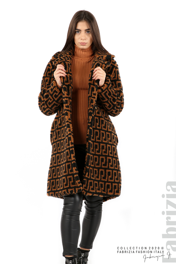 Дълго фигурално палто черен/кафяв 1 fabrizia