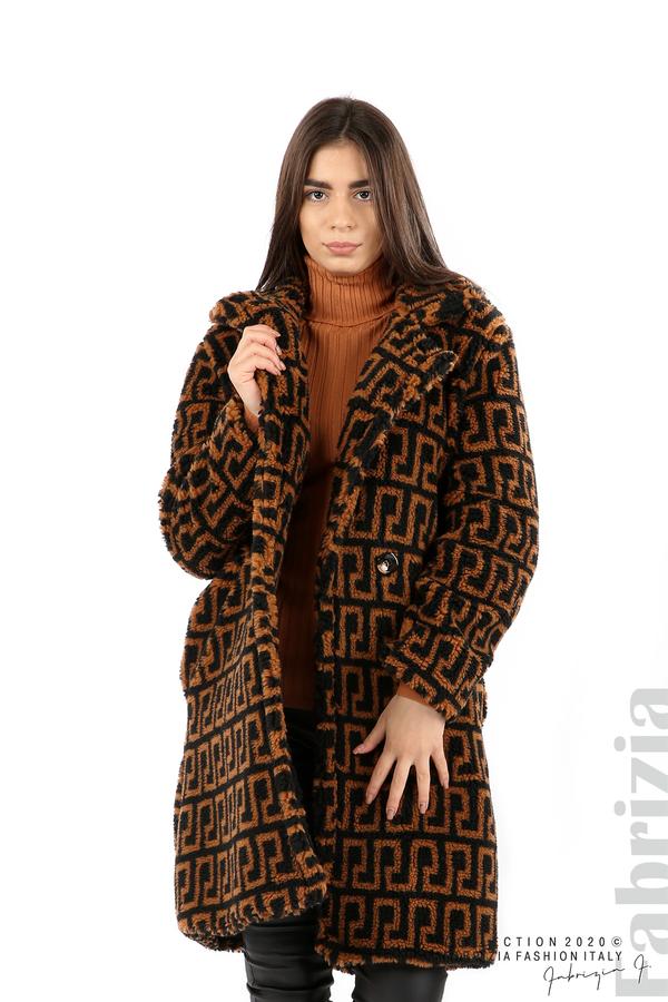 Дълго фигурално палто черен/кафяв 4 fabrizia