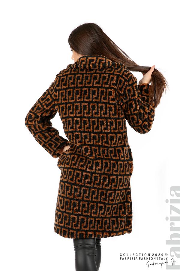 Дълго фигурално палто черен/кафяв 6 fabrizia