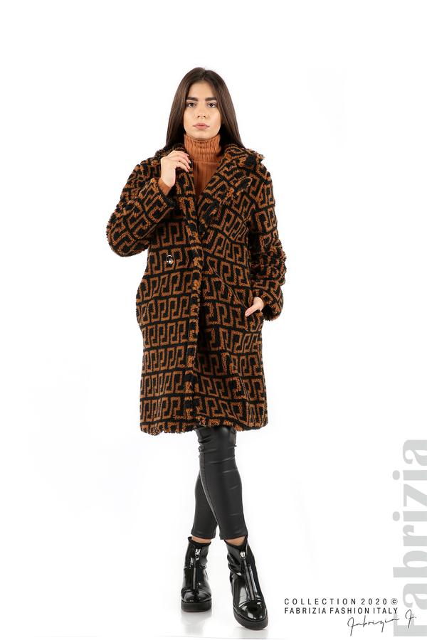 Дълго фигурално палто черен/кафяв 3 fabrizia