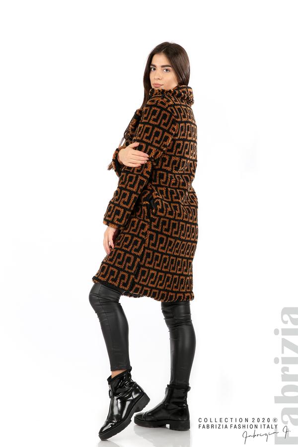 Дълго фигурално палто черен/кафяв 5 fabrizia