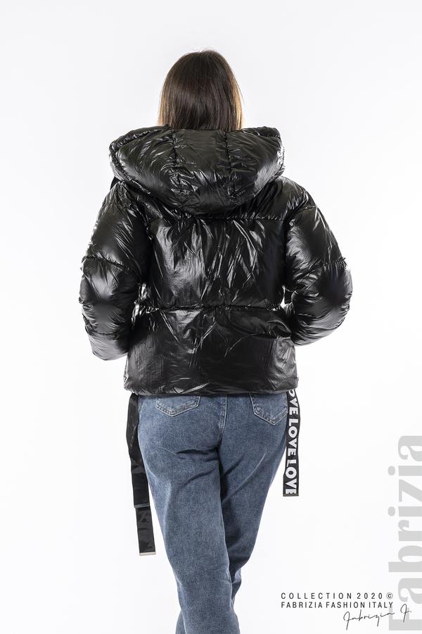 Зимно яке с качулка и декоративни ленти с надпис черен 6 fabrizia