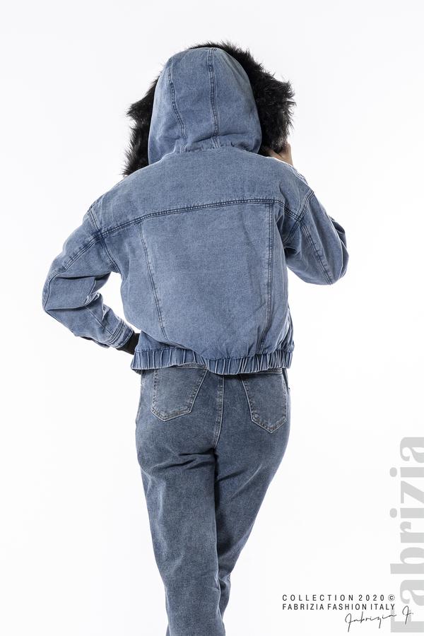 Подплатено дънково яке с качулка д.син/черен 5 fabrizia