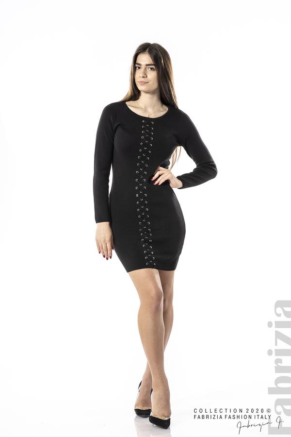 Къса рокля с ефектни фигури черен 1 fabrizia