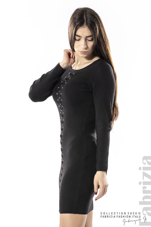 Къса рокля с ефектни фигури черен 3 fabrizia