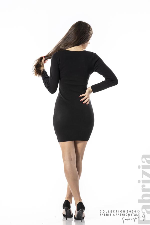 Къса рокля с ефектни фигури черен 6 fabrizia