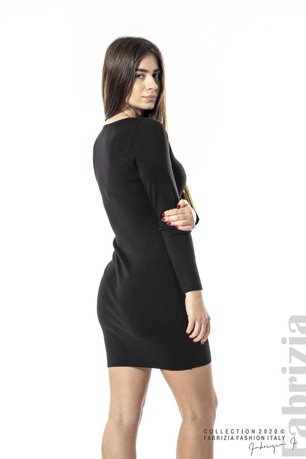 Къса рокля с ефектни фигури черен 5 fabrizia