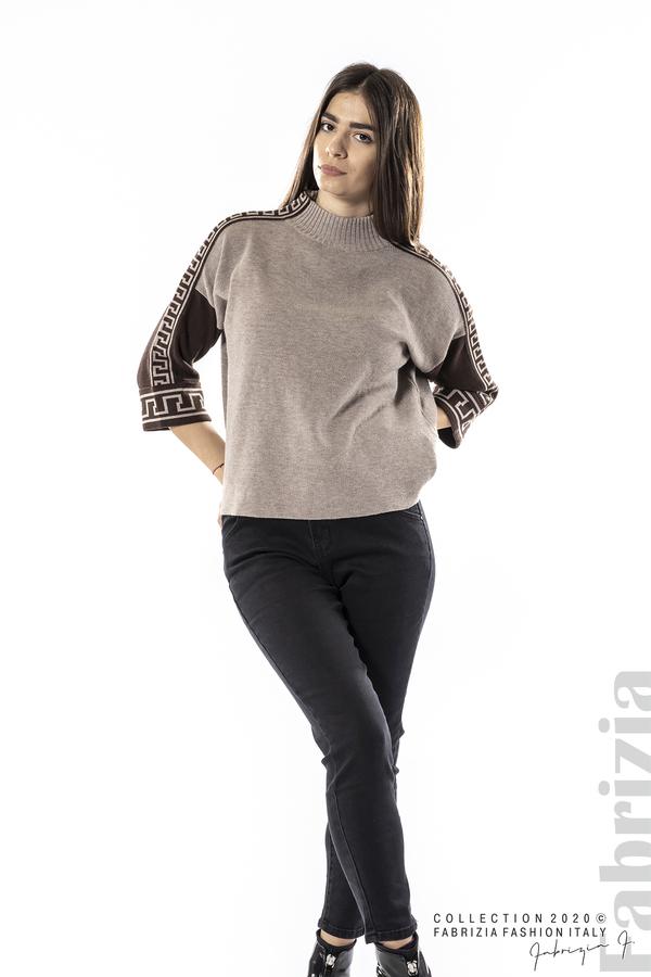 Блуза с контрастен ръкав и кант мляко с какао 3 fabrizia