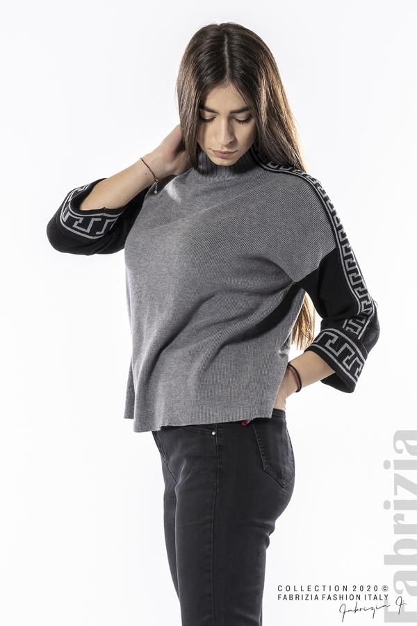Блуза с контрастен ръкав и кант сив 2 fabrizia
