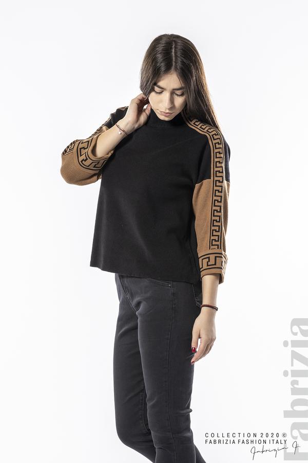 Блуза с контрастен ръкав и кант черен 3 fabrizia
