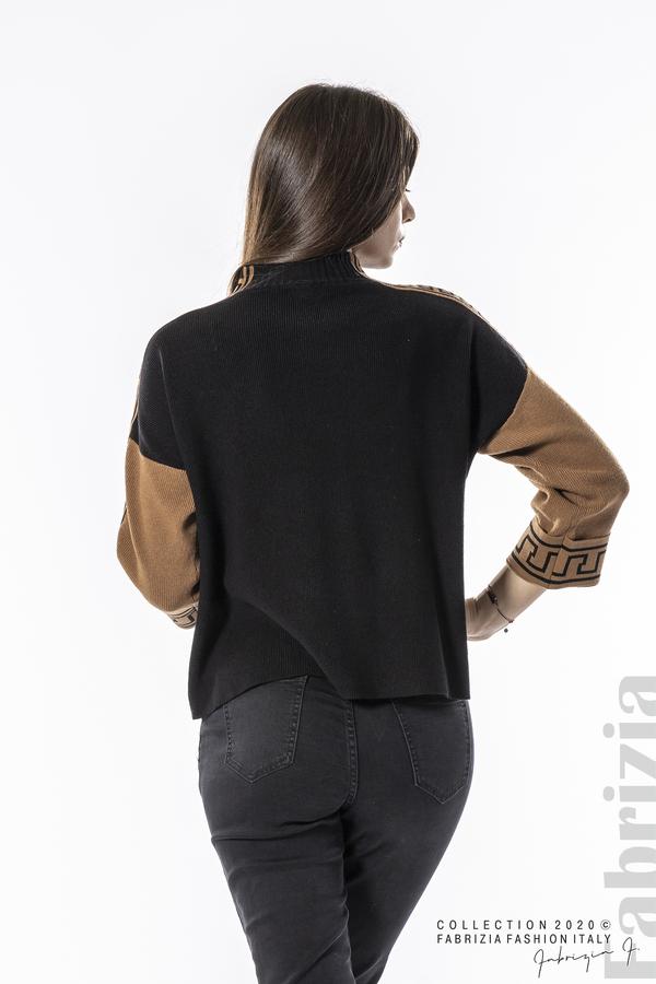 Блуза с контрастен ръкав и кант черен 5 fabrizia