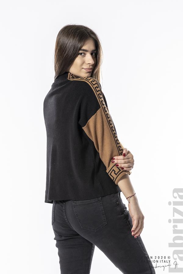 Блуза с контрастен ръкав и кант черен 4 fabrizia