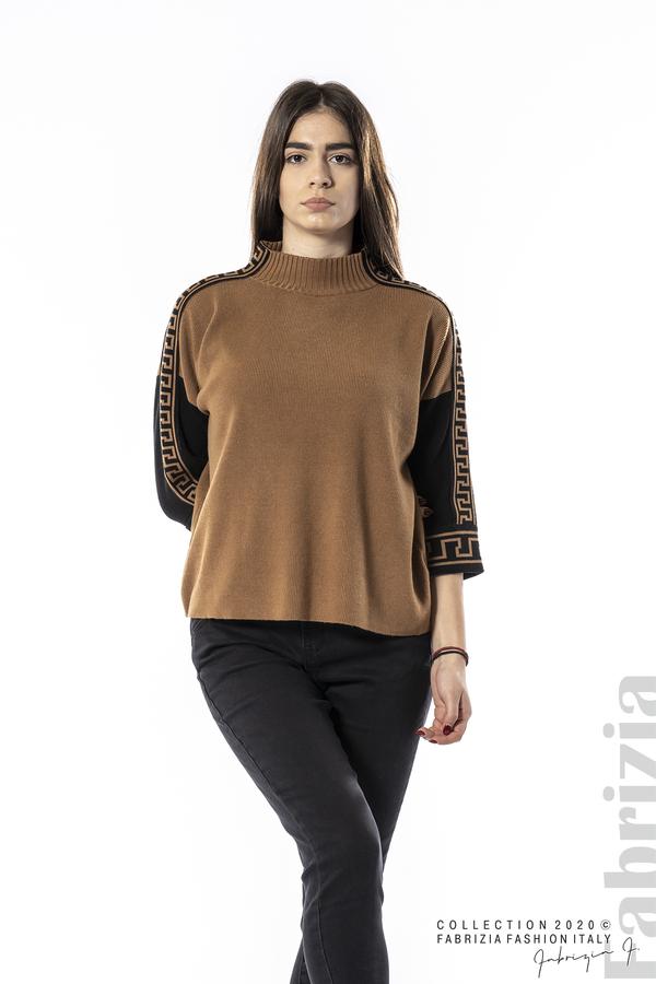 Блуза с контрастен ръкав и кант кафяв 1 fabrizia