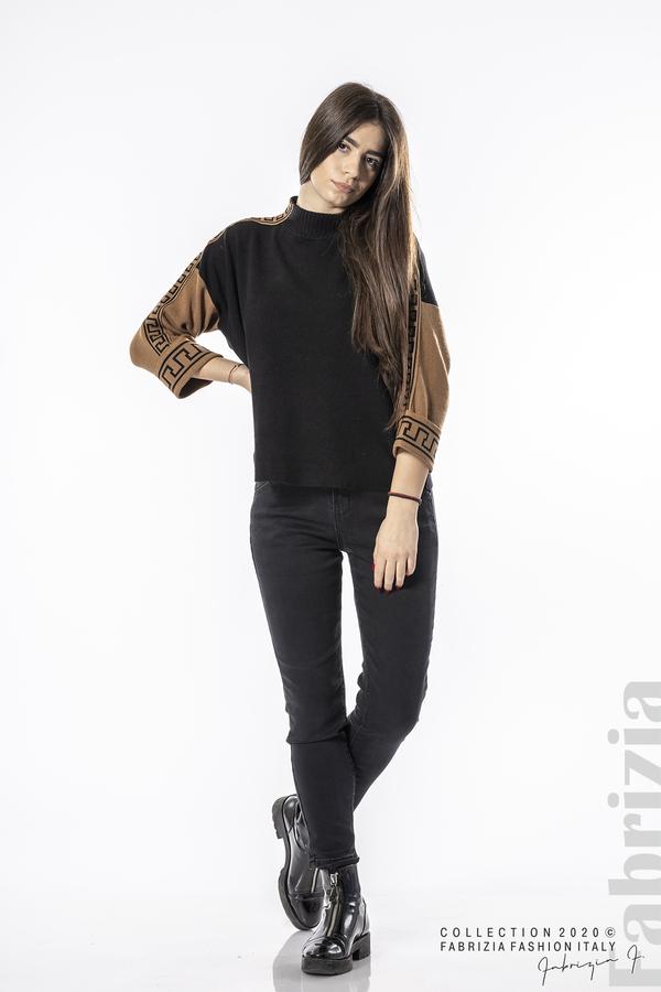 Блуза с контрастен ръкав и кант черен 2 fabrizia