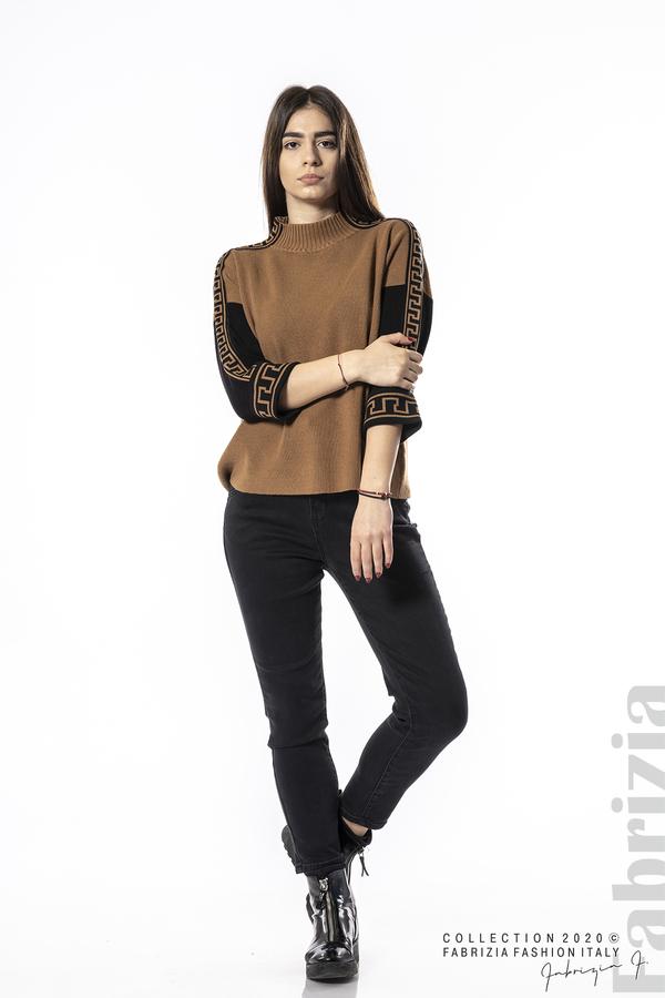 Блуза с контрастен ръкав и кант кафяв 3 fabrizia