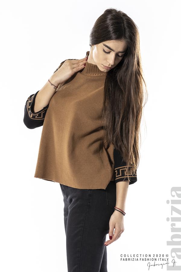 Блуза с контрастен ръкав и кант кафяв 4 fabrizia