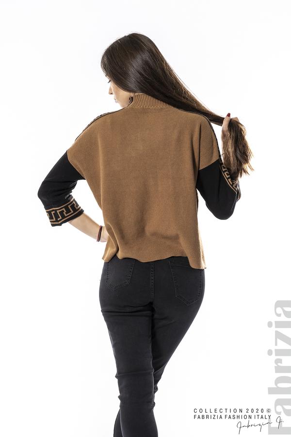 Блуза с контрастен ръкав и кант кафяв 6 fabrizia