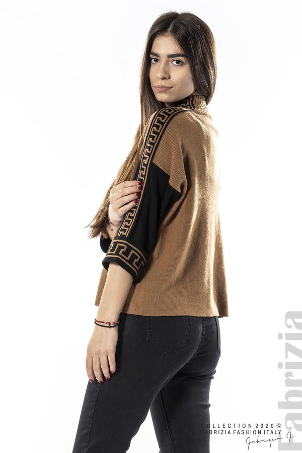 Блуза с контрастен ръкав и кант кафяв 5 fabrizia