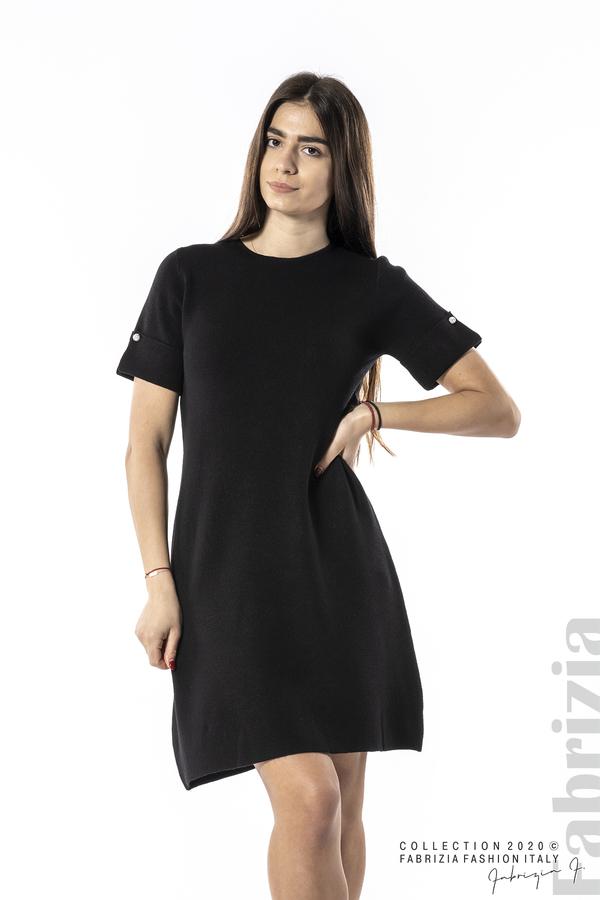 Къса едноцветна рокля черен 1 fabrizia