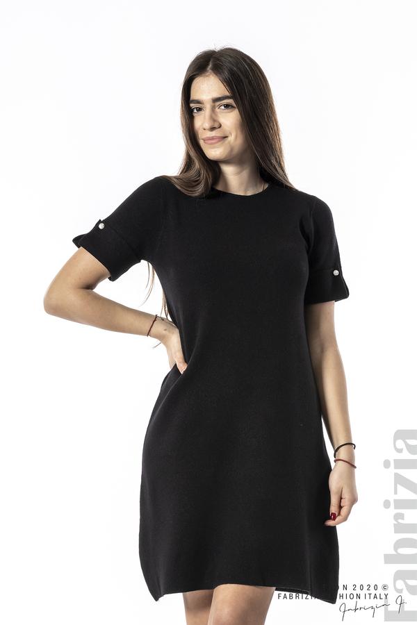 Къса едноцветна рокля черен 4 fabrizia