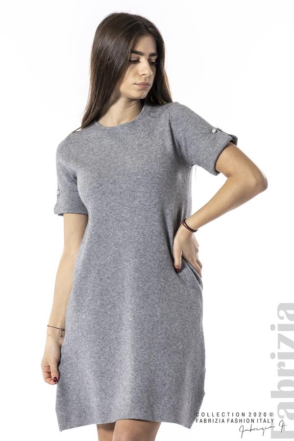Къса едноцветна рокля сив 3 fabrizia