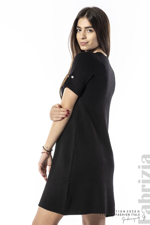 Къса едноцветна рокля черен 2 fabrizia