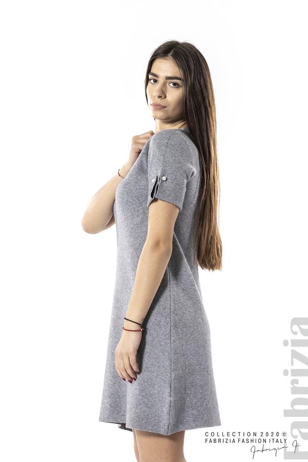 Къса едноцветна рокля сив 2 fabrizia