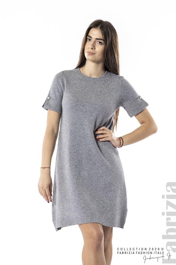 Къса едноцветна рокля сив 1 fabrizia