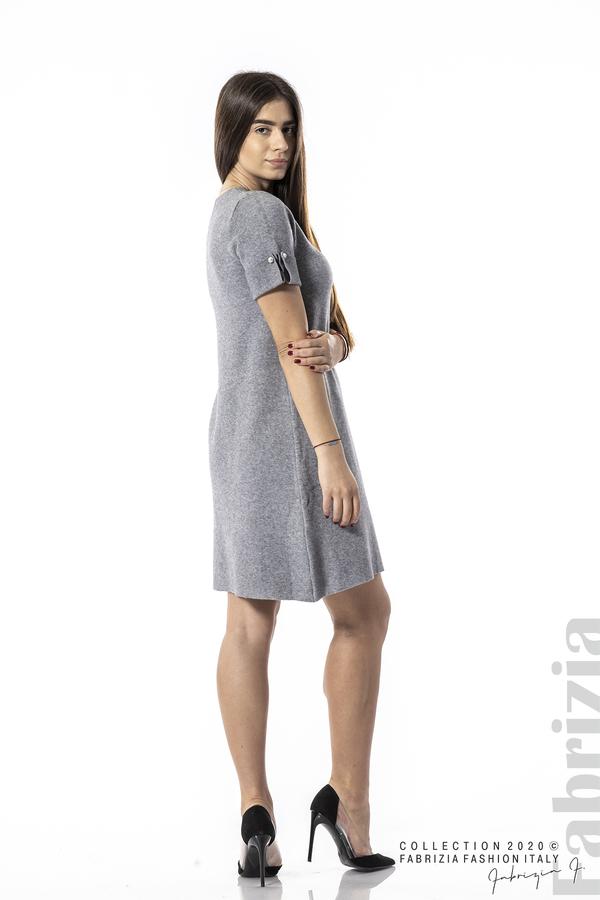 Къса едноцветна рокля сив 4 fabrizia