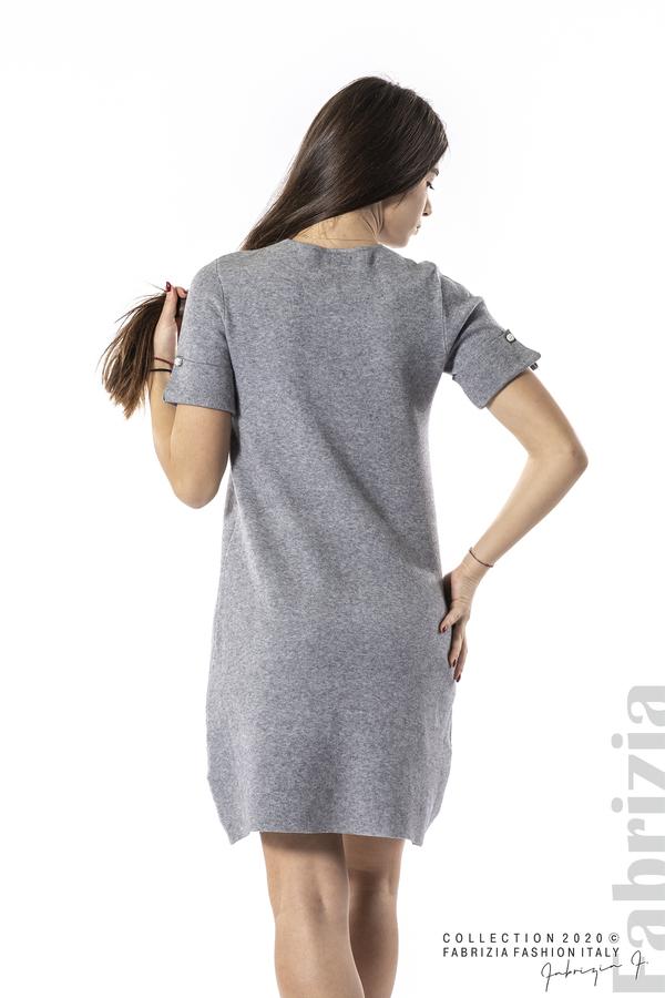 Къса едноцветна рокля сив 5 fabrizia