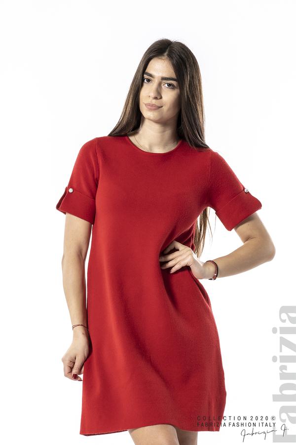 Къса едноцветна рокля червен 1 fabrizia
