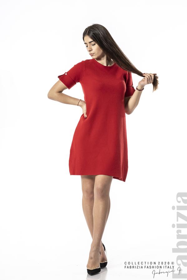 Къса едноцветна рокля червен 3 fabrizia