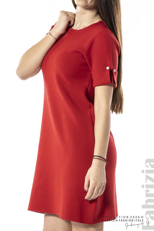 Къса едноцветна рокля червен 2 fabrizia