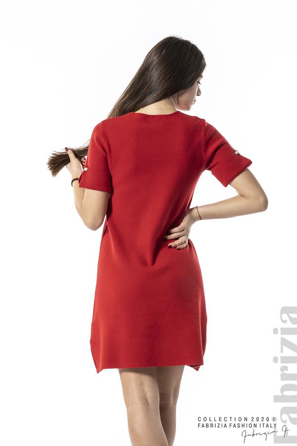 Къса едноцветна рокля червен 5 fabrizia