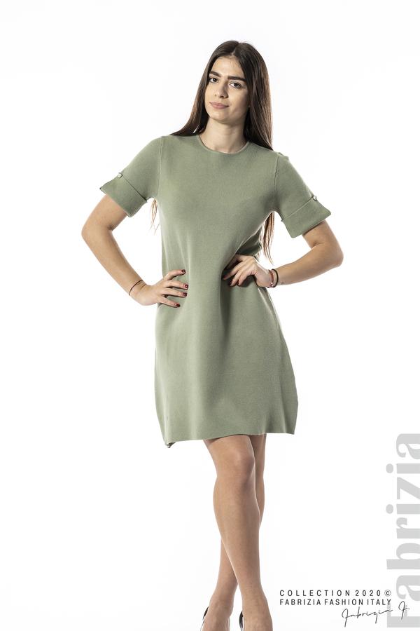 Къса едноцветна рокля бл.зелен 3 fabrizia