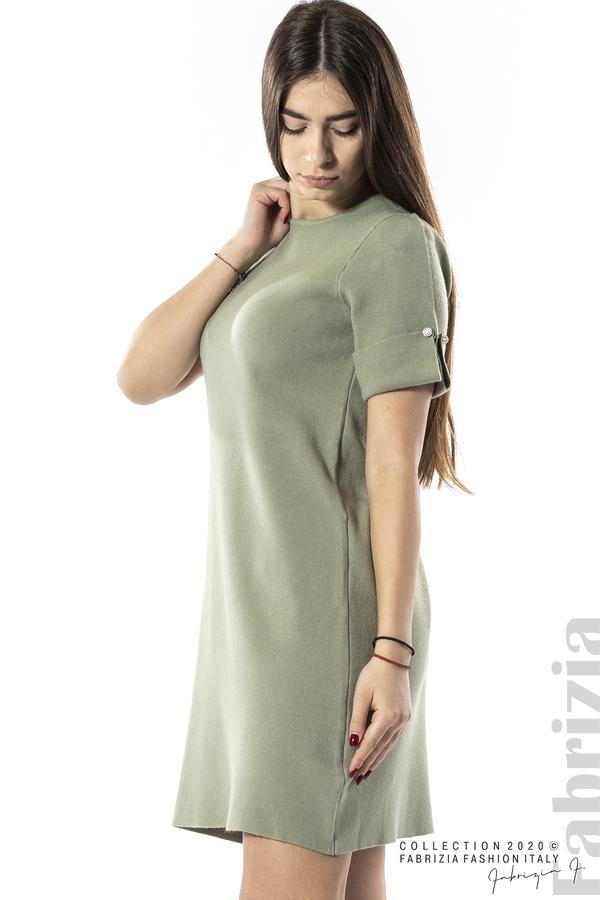 Къса едноцветна рокля бл.зелен 2 fabrizia